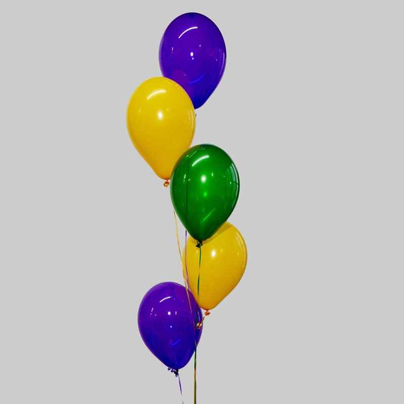 Goldenrod Green & Purple Balloon Cluster