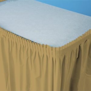 "Glittering Gold 14'x29"" Plastic Table Skirts"