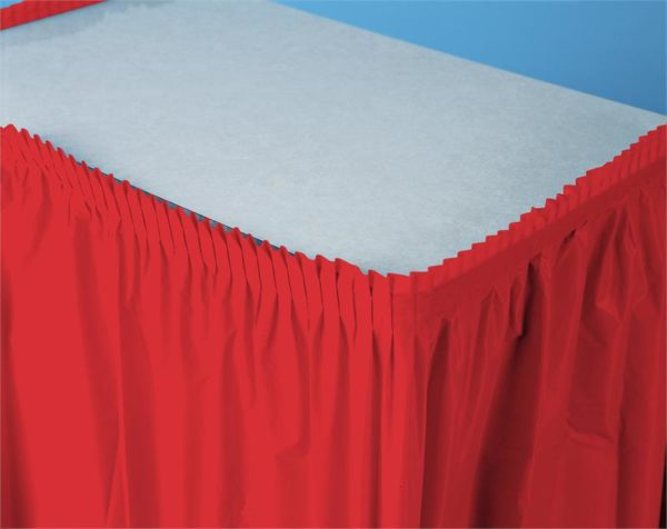 "Classic Red 14'x29"" Plastic Table Skirts"