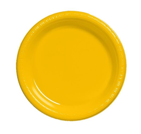 "School Bus Yellow 7"" Luncheon Plastic Plates"