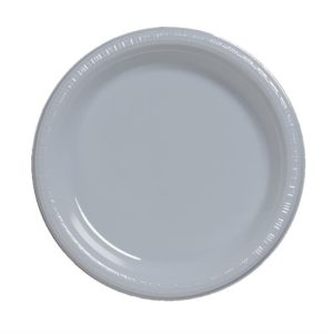 "Shimmering Silver 10.25"" Banquet Plastic Plates"