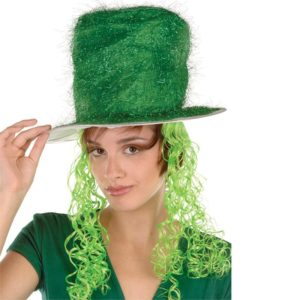 Tinsel Top Hat w/Curly Wig