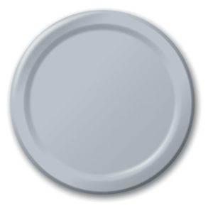 "Shimmering Silver 10"" Banquet Paper Plates"