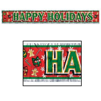 Metallic Happy Holidays Fringe Banner