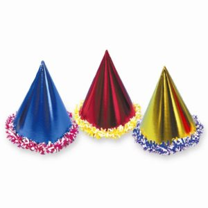 "Party Hats 7"" Foil w/Lei Trim"