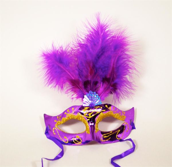 Feather Purple Mask with Gold