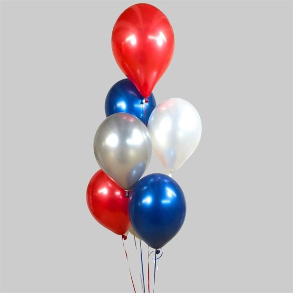 Blue - Red - Silver - White Balloon Cluster