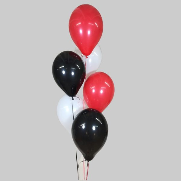 Red White & Black Balloon Cluster