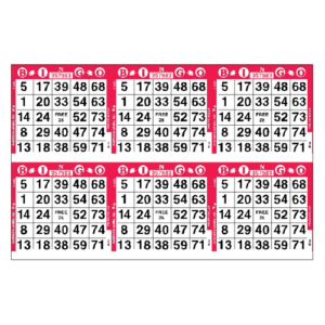 6on Horizontal Bingo Paper - Case