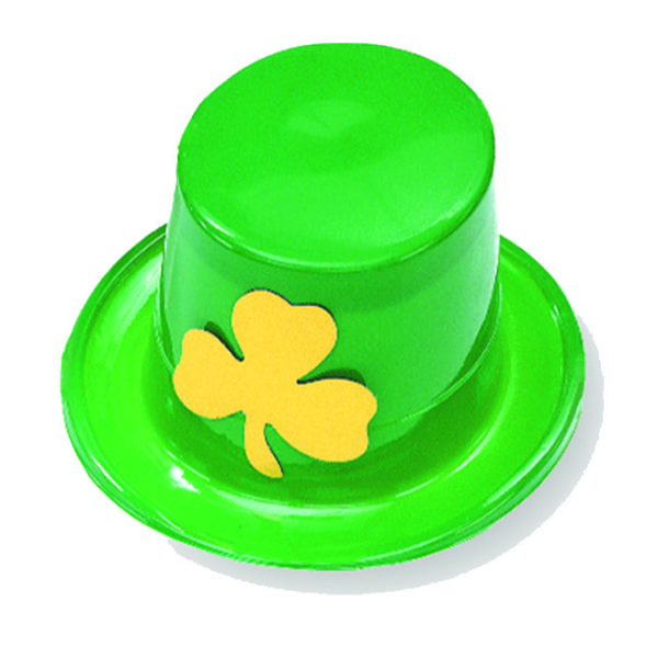 Plastic Top Hat with Shamrock
