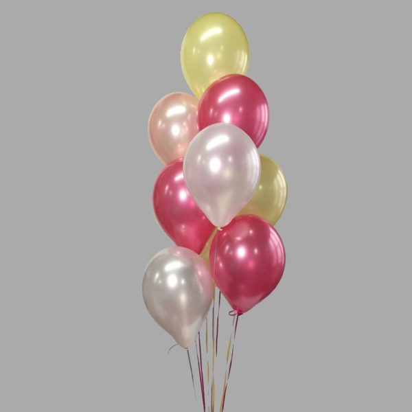 Pink White Yellow Balloon Cluster