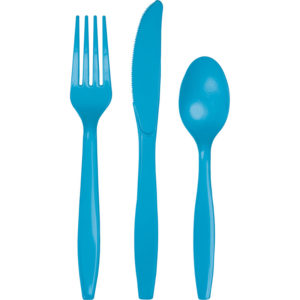 TURQUOISE PLASTIC CUTLERY ASSORTMENT