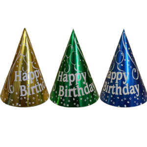 7in Foil HBD Cone Hats